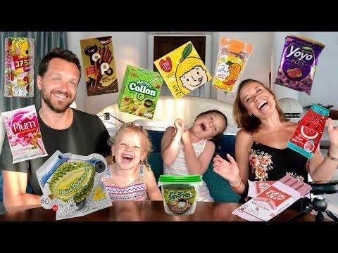 Familjen testar godis från Thailand