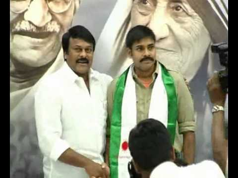 CHIRANJEEVI ANNOUNCE YUVARAJYAM PAWANKALYAN VIS AT PRP PARTY OFFICE
