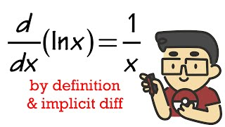 derivative of ln(x), by definition & implicit differentiation