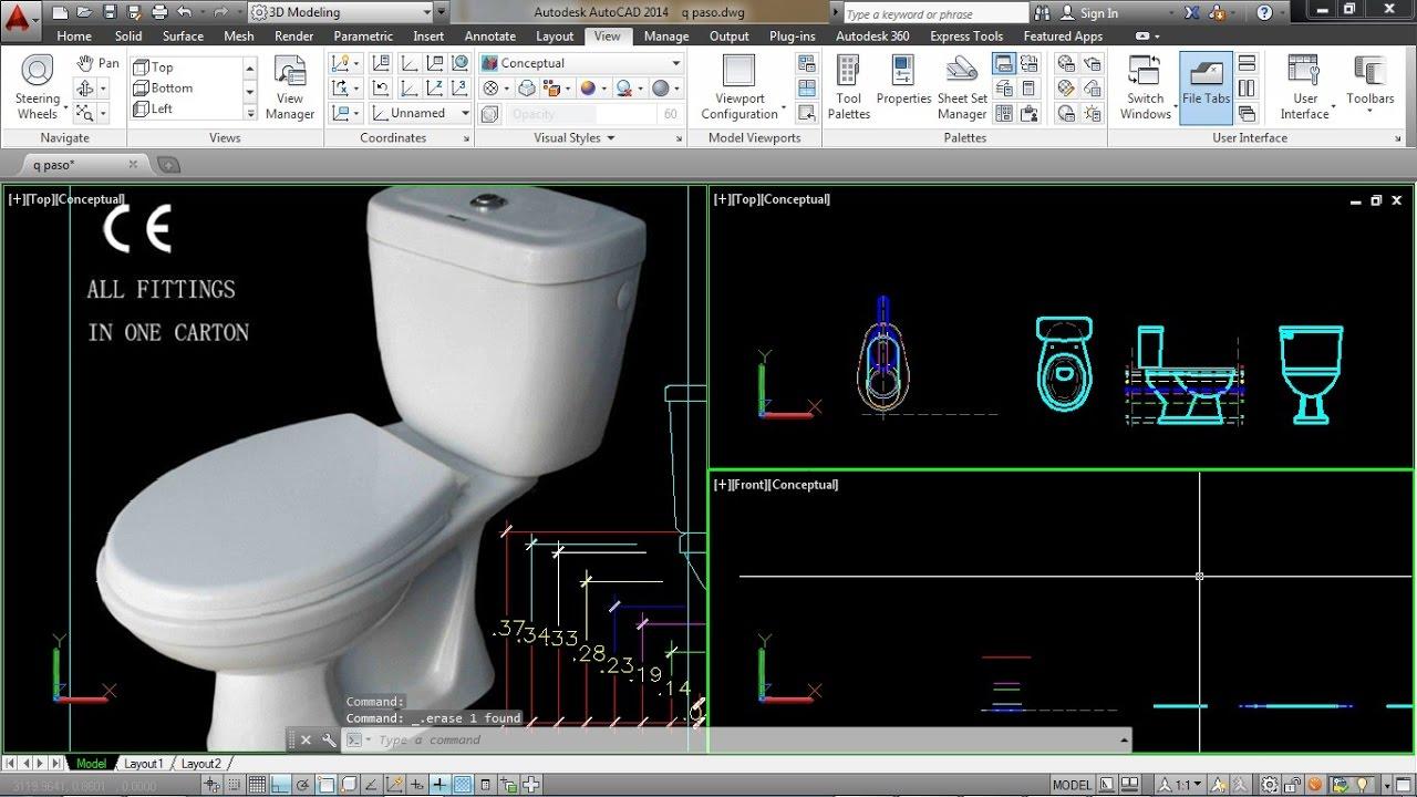 Como dibujar una taza o inodoro en 3d youtube for Inodoro dwg