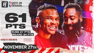 James Harden & Russell Westbrook 61 Points Combined Highlights | Heat vs Rockets | November 27, 2019