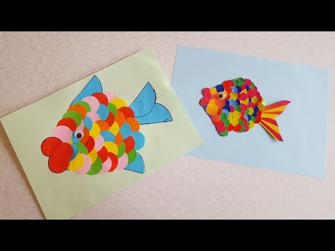 Рыбка Аппликация из цветной бумаги