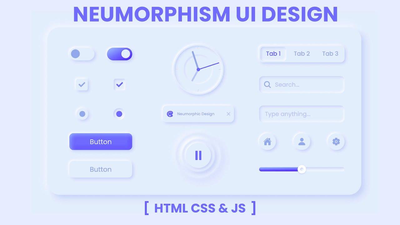 Neumorphism UI Design HTML CSS & JS    Neumorphism Effect CSS   Neumorphism CSS