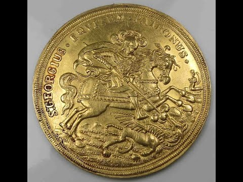 Gold Medal St  George on Horse Slaying Dragon