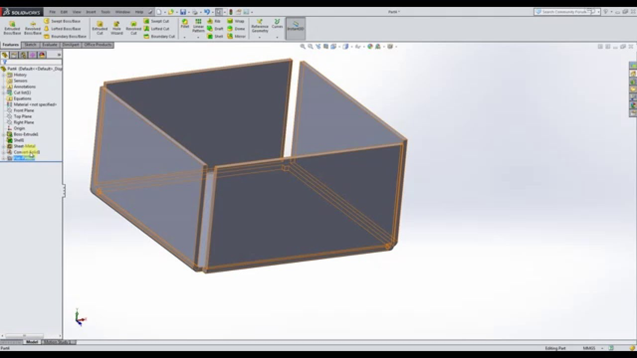 Solidworks Sheet Metal 1 Quick Tutorial Metal Box Flat