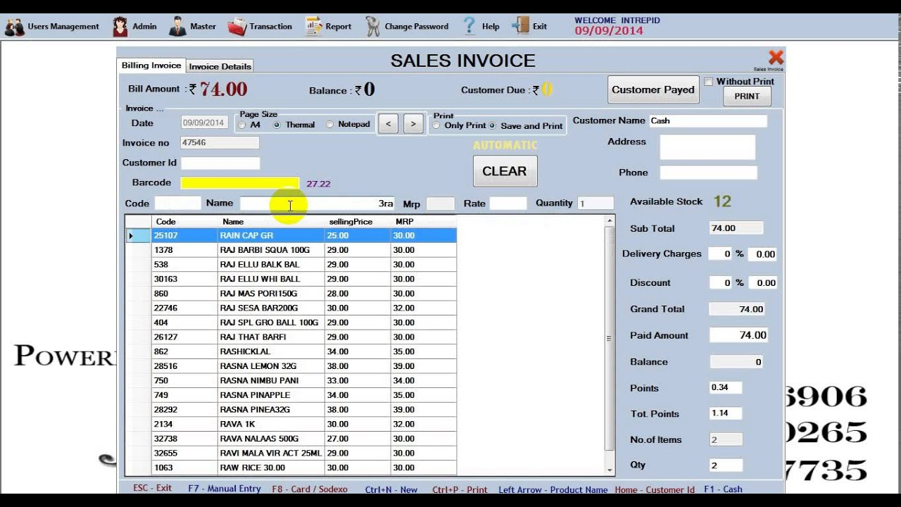 Latest Super Market billing Software (Maligai Kadai) sales invoice