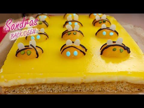 Fanta Kuchen mit Bienen aus Aprikosen | Fanta Torte | saftig, lecker und schnell gebacken