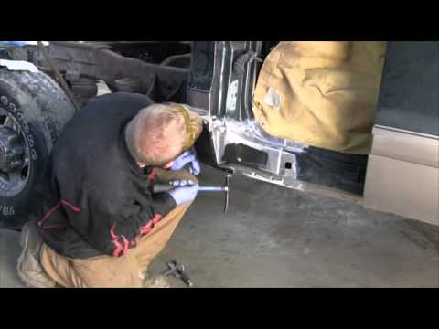 Installing a cab corner rust repair panel using panel bond adhesive
