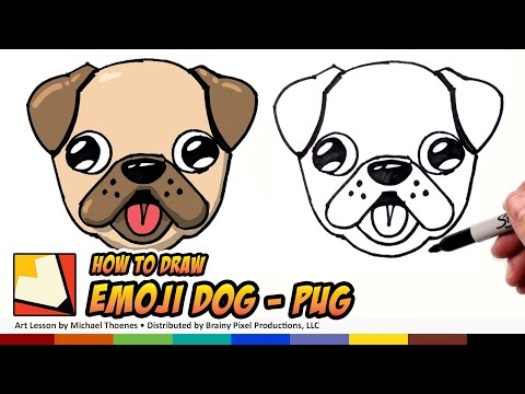 How to Draw a Cute Dog Emoji Pug for Beginners Step by Step | BP