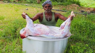 FULL GOAT RECIPE !!! 8 KG Full Goat prepared by my uncle | full goat gravy/food fun village