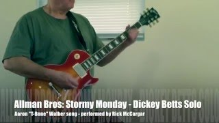 Allman Bros - Stormy Monday - Dickey Betts Solo with free tablature download
