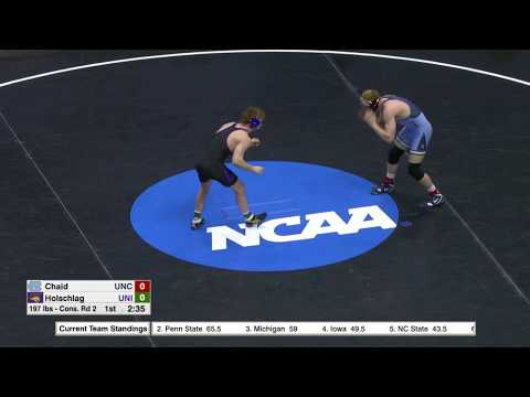 2018 NCAA Wrestling 197lbs: Jacob Holschlag (UNI) Dec Daniel Chaid (UNC)