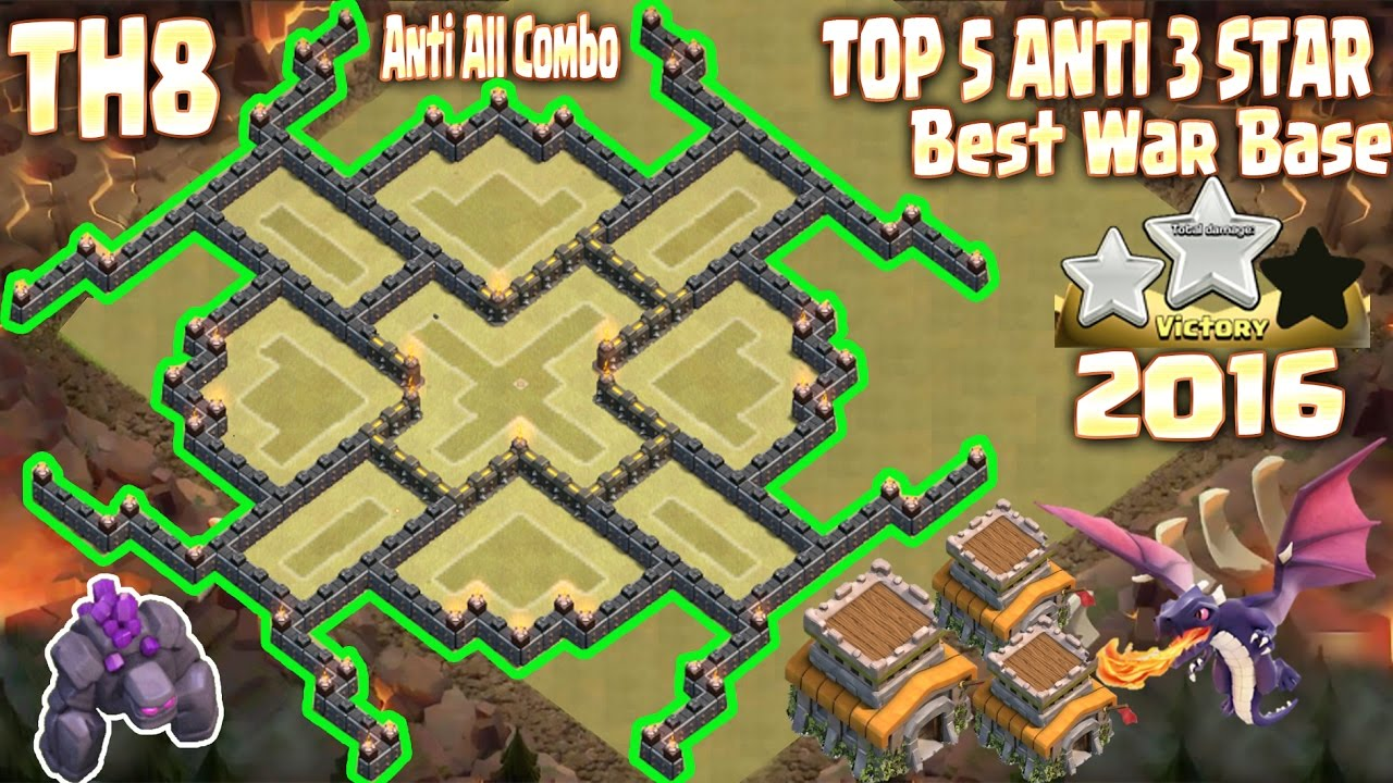 Top 5 Town Hall 8 (Th8) best war base 2016, 2017. 100% ...