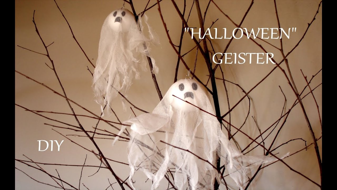 diy halloween geister halloween deko basteln mit kindern just deko youtube. Black Bedroom Furniture Sets. Home Design Ideas