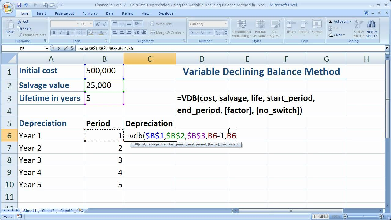 finance in excel 7 calculate the declining balance method of