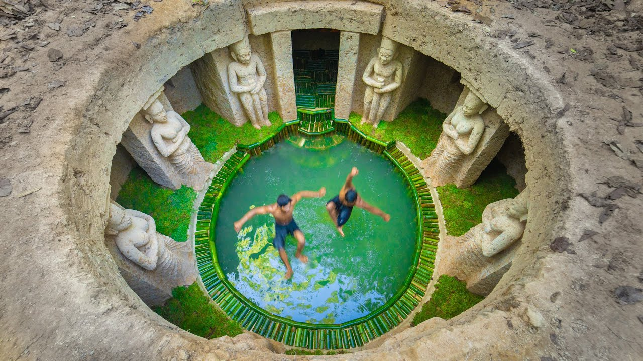 Build Amazing Underground Mansion and Bamboo Swimming Pool By Ancient Skills