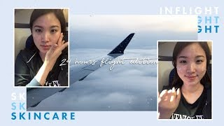 ✈️REAL In flight skincare I did on a 24 hours flight • NYC » Jakarta
