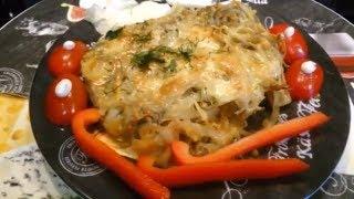 Мясо под Грибами, Картофелем и Сыром в духовке