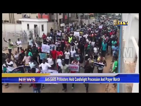 Large crowd of anti-SARS protesters take campaign to ITV/Radio Benin