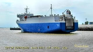 car carrier CITY OF SUNDERLAND MQPU6 IMO 9046356 Autotransporter Emden Germany