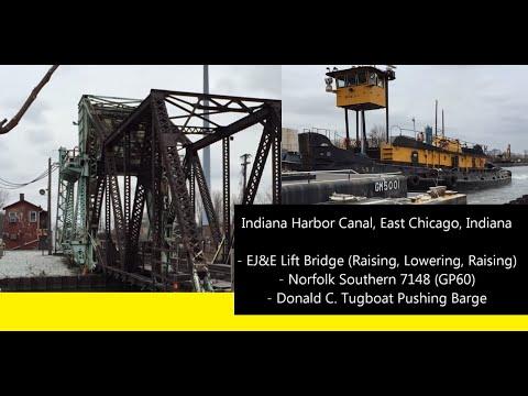 Indiana Harbor Canal, East Chicago, Indiana EJ&E Lift Bridge Donald C Tugboat Norfolk Southern 7148