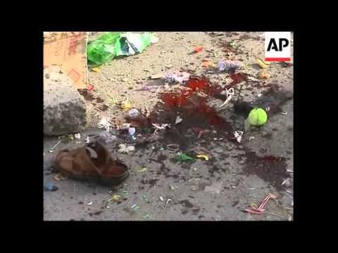 Roadside bomb in Baghdad, aftermath of fatal blast in Tikrit
