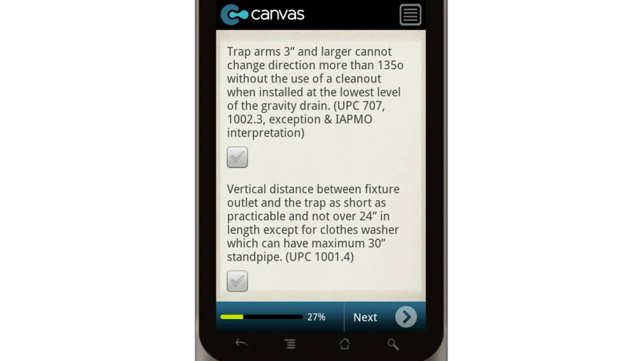 canvas residential plumbing rough in checklist mobile app