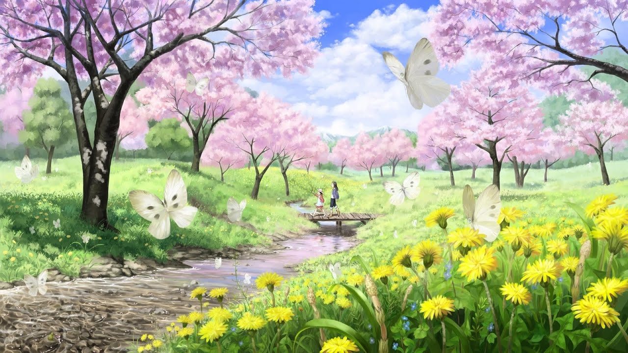 Relaxing anime piano music spring flowers youtube mightylinksfo