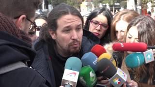 Declaraciones de Pablo Iglesias y Luis Lombardo en la manifestación de Salvemos Telemadrid