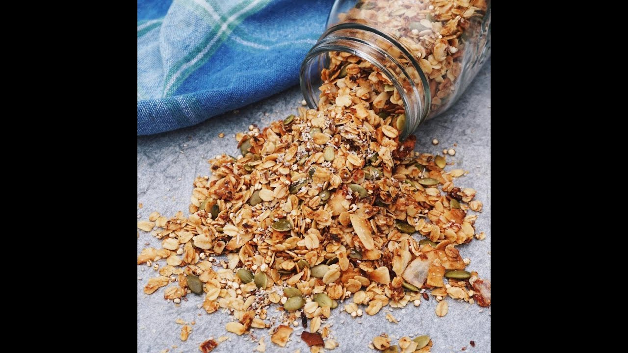 Homemade vegan granola tutorial in 2 minutes youtube homemade vegan granola tutorial in 2 minutes ccuart Image collections