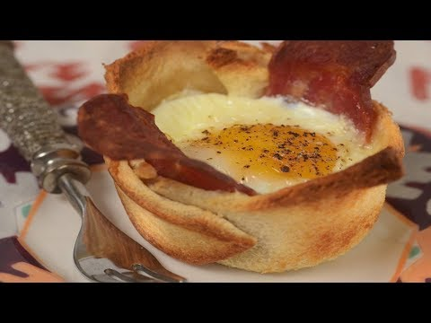 Bacon & Egg Toast Cups Recipe Demonstration - Joyofbaking.com