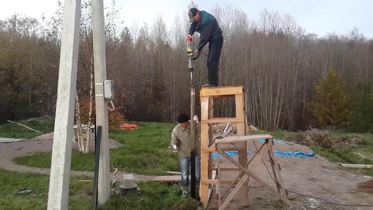 Как забить столбы для забора своими руками 653
