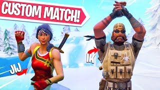 IEDEREEN KAN MEEDOEN!! JIJ vs EEN PRO SQUAD! Fortnite Battle Royale CUSTOM MATCHMAKING