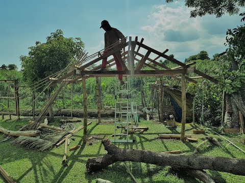 Building a Native Hut out of Coconut Lumber, Bamboo, Nipa Leaves - Time Hyper Lapse Study 17174