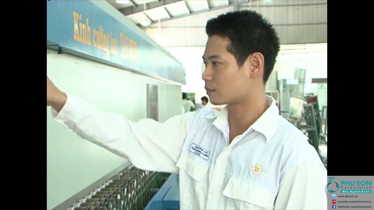 Dây chuyền tự động sản xuất kính cường lực MOUNTAIN tại nhà máy TAN MINH GLASS