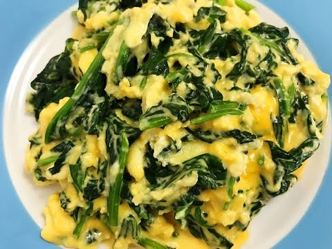 Easy Breakfast Recipe: Spinach, Eggs and Cheese