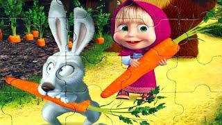 Маша и Медведь Праздник Урожая - собираем пазлы для детей с героями мультика Маша и Медведь