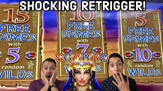 SCARAB Free Games SUPER RARE RETRIGGER For An Additional Bonus Selection!