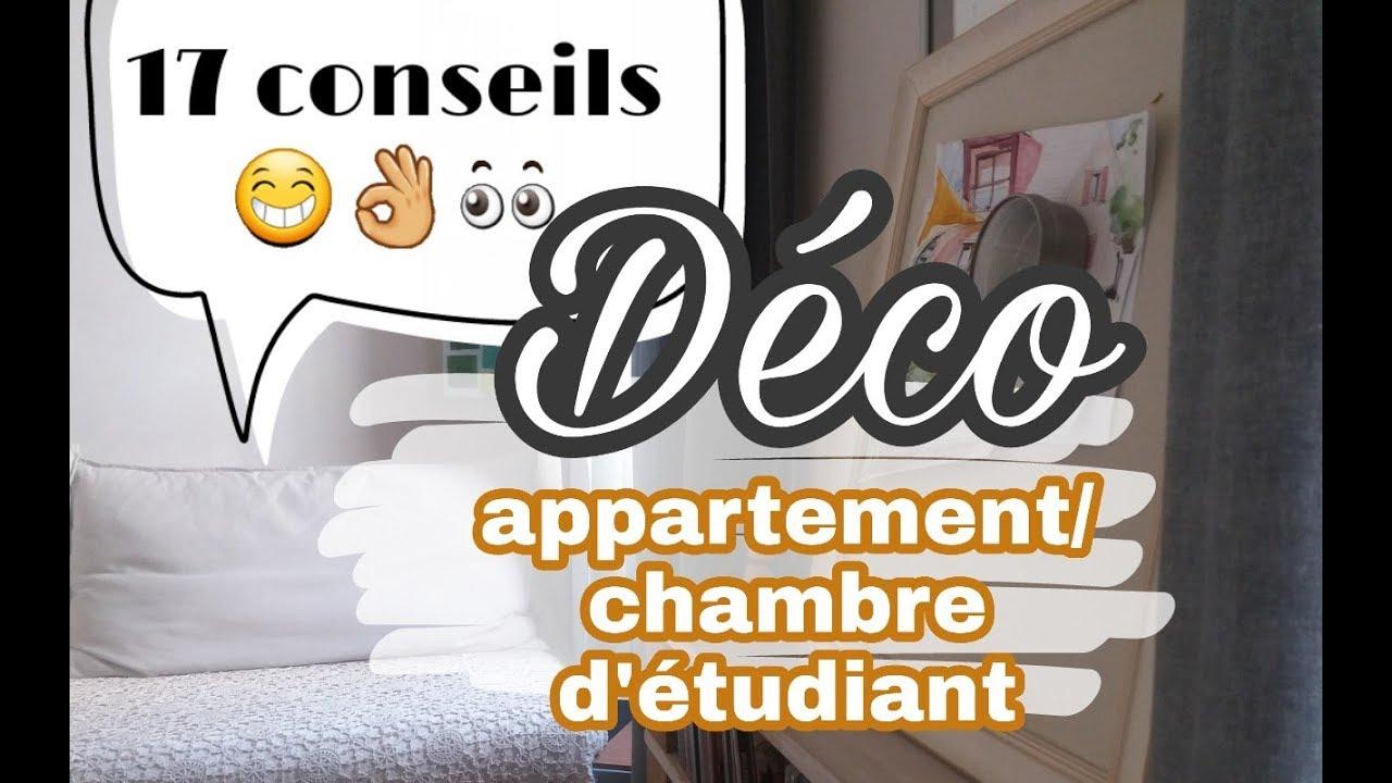 17 conseils deco pour un appartement etudiant chambre d 39 tudiant youtube. Black Bedroom Furniture Sets. Home Design Ideas