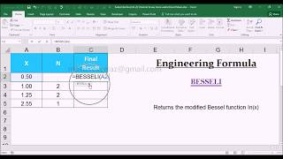 BESSELI Engineering Function with Examples in MS Office Excel Spreadsheet 2016