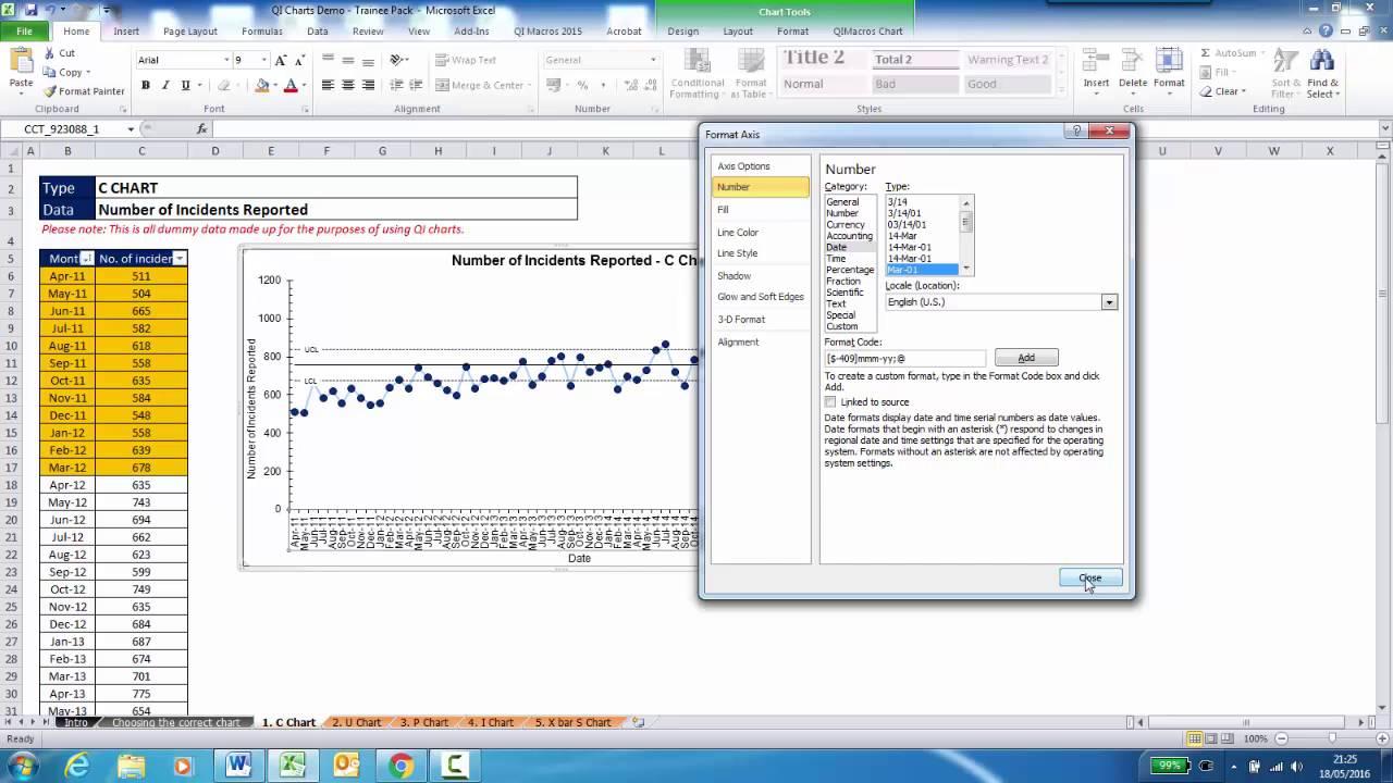 Elft S Qi Charts Tutorial 03 Creating A C Chart Part 2