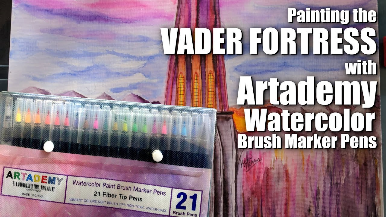 Painting Vader Fortress Reviewing Artademy Watercolor Pens Youtube