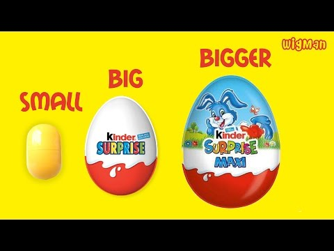 Learn Sizes with Kinder Maxi Surprise Eggs Nursery Rhymes by WigMan