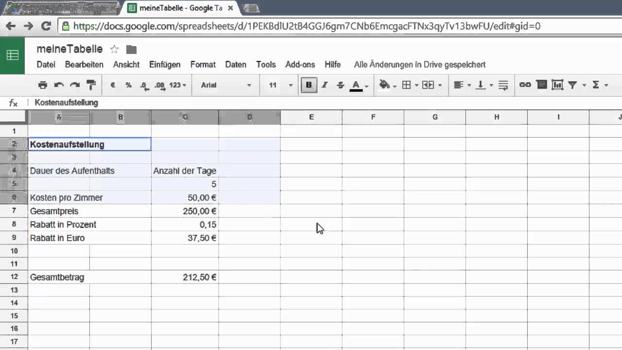 3. Google Drive Tabellen - einfache Zellformate, Tabellenauswahl ...