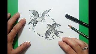 Como dibujar pajaros paso a paso | How to draw birds