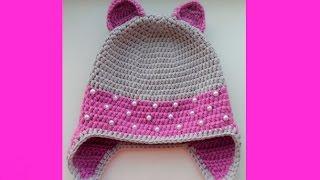 Детская шапка крючком с ушками 1 часть- crochet baby hats (Шапка #32)