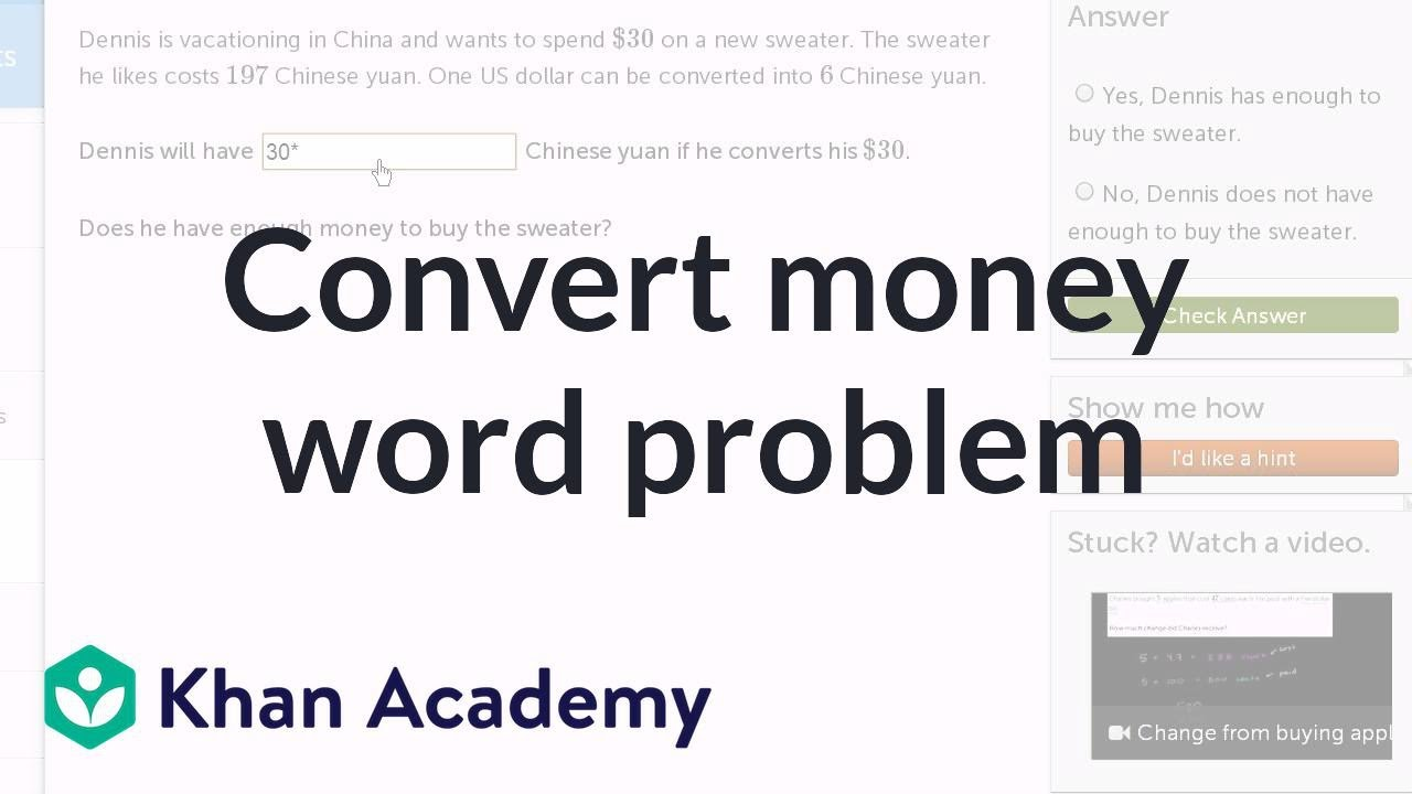 Currency Conversion Word Problem Video