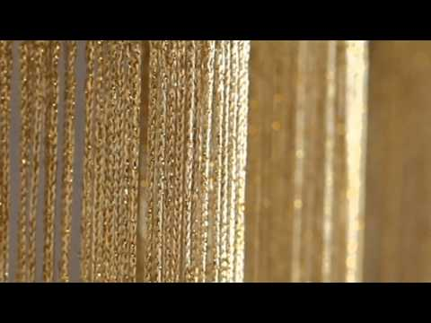 ShopWildThings Gold String Curtains with Metallix Lurex Strands