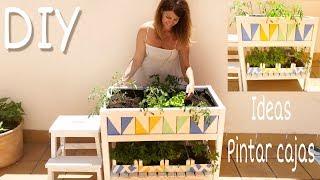 DIY Cómo pintar cajas de fresas facil y cómo hacer un huerto urbano / Reciclar y decorar