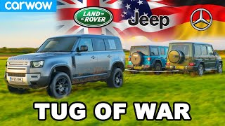 Mercedes G350 v Land Rover Defender v Jeep Wrangler - TUG OF WAR